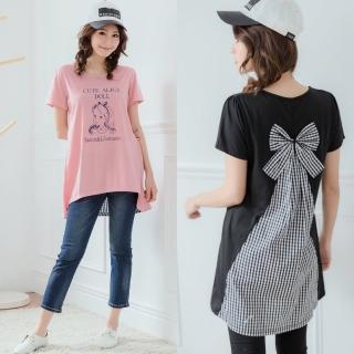 【衣心衣意】美麗拼接方格蝴蝶結可愛女孩長版上衣(黑-莓紅A3294)