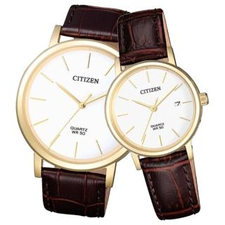 【CITIZEN 星辰】石英指針對錶 皮革錶帶 深灰色錶面 防水50米 日期顯示(BI5072-01A+EU6092-08A)