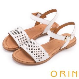 【ORIN】夏日異國渡假 趣味造型簍空真皮平底涼鞋(白色)