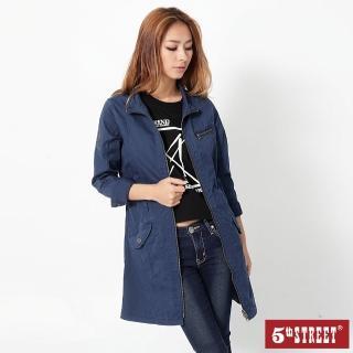 【5th STREET】女色布洋裝式長版外套-2色任選