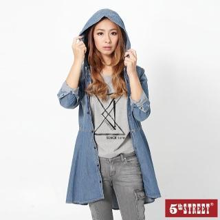 【5th STREET】女牛仔洋裝外套-中古藍