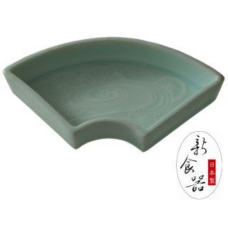 【新食器】日本製青瓷扇形小碟(碗盤器皿)