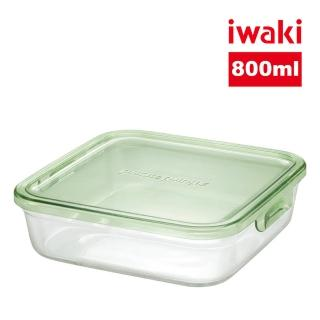 【iwaki】日本耐熱抗菌玻璃方形微波保鮮盒800ml(綠色)