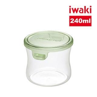 【iwaki】日本耐熱抗菌玻璃圓形微波保鮮盒240ml(綠色)