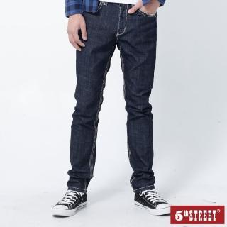【5th STREET】男粗線伸縮褲-原藍色