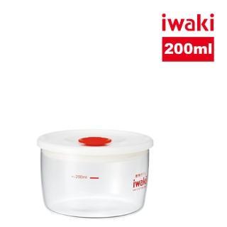 【iwaki】日本品牌耐熱玻璃微波密封罐-白蓋(200ml)