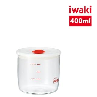 【iwaki】日本品牌耐熱玻璃微波密封罐-白蓋(400ml)