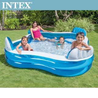 【INTEX】藍色透明有靠墊戲水游泳池229x229x66cm_990L_適用3歲+(56475N)/