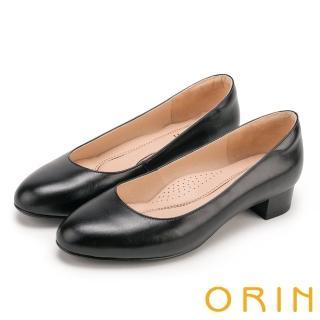 【ORIN】簡約時尚OL 圓尖素面嚴選牛皮粗低跟鞋(黑色)