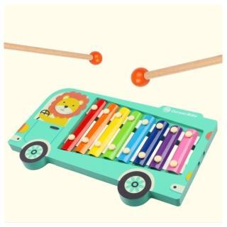 【經典木玩】木製歡樂巴士敲琴玩具