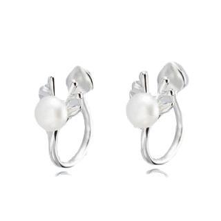 【RJNEWYORK】森森小鹿簡約小清新夾式珍珠小鹿造型耳環(白金色)