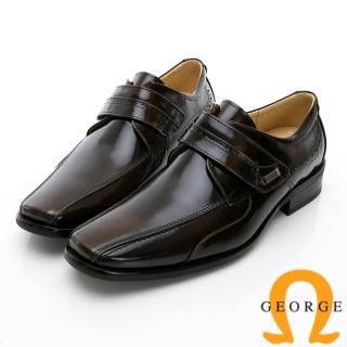 【GEORGE 喬治皮鞋】時尚職人系列 真皮小方楦魔鬼氈紳士鞋皮鞋-古銅