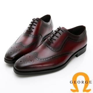 【GEORGE 喬治皮鞋】AMBER系列 手工漸層雕花牛津鞋紳士鞋皮鞋-酒紅