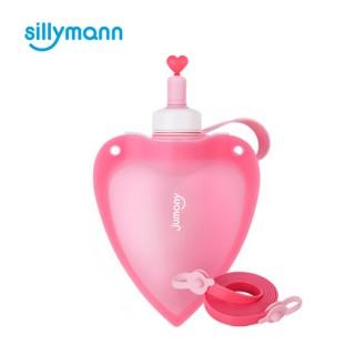 【韓國sillymann】100%兒童便攜捲式鉑金矽膠心型水瓶-250ml