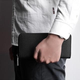 【KAKA】簡約男士大容量多卡位拉鏈長夾/錢包/手拿包(黑色)