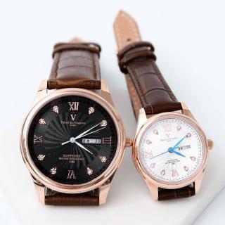 【Valentino Coupeau】玫瑰金皮革錶