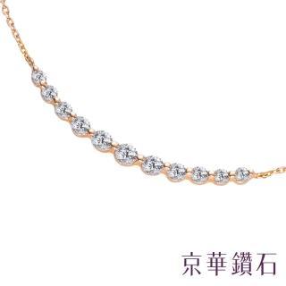 【Emperor Diamond 京華鑽石】18K鑽石項鍊 純真-玫瑰金(微笑項鍊)