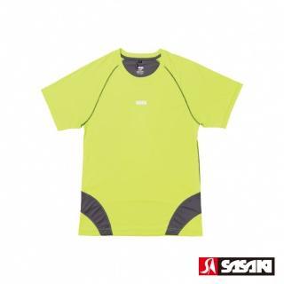 【SASAKI】高彈力機能性運動緊身圓領短衫-男-艷黃/深灰