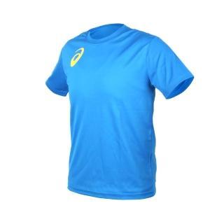 【asics 亞瑟士】男女限量運動排汗LOGO短袖T恤-慢跑 路跑 亞瑟士 寶藍黃(K11613-43)