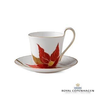 【Royal Copenhagen 皇家哥本哈根】骨瓷杯碟270ml(芙蘿拉花神-聖誕紅)
