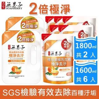 【古寶無患子】橘油濃縮洗衣精-極淨去污8件組(瓶裝1.8LX2+補充包1.6LX6)