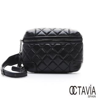 【OCTAVIA 8】腰線 黑色菱格牛皮腰袋小包(忙碌黑)