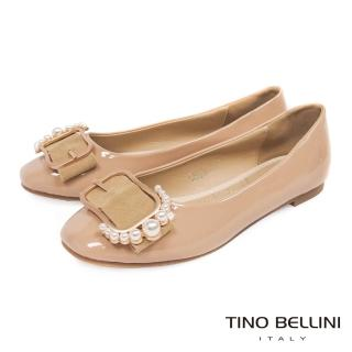 【TINO BELLINI 貝里尼】綺麗珍珠皮帶飾釦平底娃娃鞋F83015(膚)