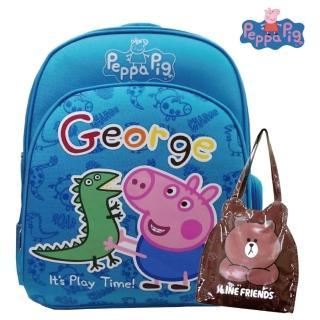 【Peppa Pig 粉紅豬】EVA護脊後背書包+LINE 防水造型袋(喬治_PP5715)