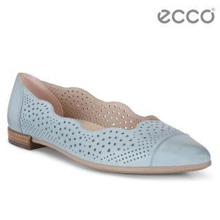 【ecco】SHAPE POINTY BALLERINA 雕花蕾絲氣質娃娃鞋(藍 26294302292)