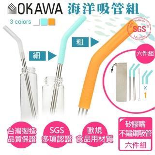 【OKAWA】OKAWA環保矽膠嘴不鏽鋼吸管 贈袋 贈毛刷(六件組 海洋吸管 食品用)