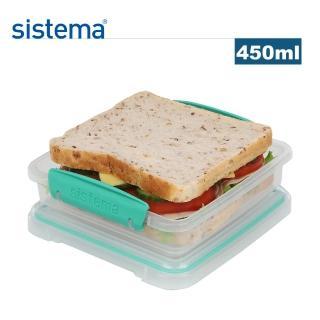 【SISTEMA】紐西蘭進口攜便式吐司保鮮盒450ml(顏色隨機)
