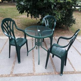 【Brother 兄弟牌】80cm玻璃圓桌加綠色塑膠椅一桌四椅組(戶外休閒)