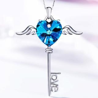 【Angel】天使之愛自由飛翔鑰匙LOVE水晶項鍊(藍色紫色2色可選)