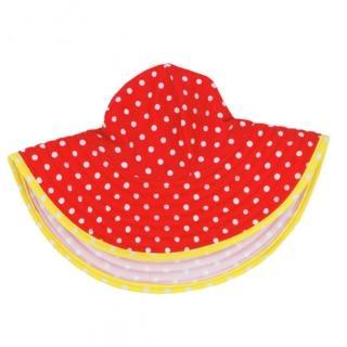 【美國 RuffleButts】嬰幼兒雙面配戴遮陽帽_橘黃白圓點(RBVS010)