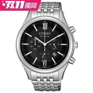 【CITIZEN 星辰】Chronograph 亞洲限定款光動能三眼計時腕錶-銀(CA4410-84E)