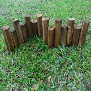 【園藝世界】燻木木柱圍籬 D6*L90*H20 CM