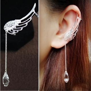 【RJNEWYORK】深情淚滴水晶流蘇夾式針式耳環(銀色針式夾式任選)