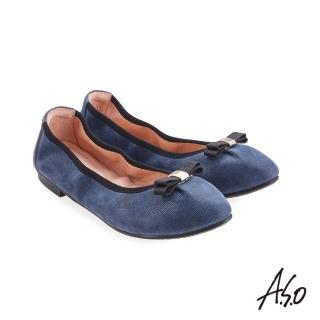 【A.S.O 阿瘦集團】輕履鞋 蝴蝶結羊絨皮可折疊娃娃鞋(深藍)