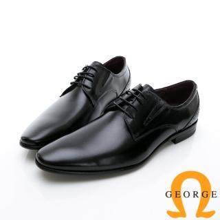 【GEORGE 喬治皮鞋】商務系列 綁帶經典素面紳士皮鞋-黑