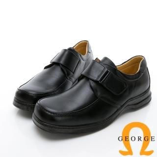【GEORGE 喬治皮鞋】商務系列 魔鬼氈素面紳士方頭皮鞋-黑