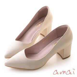 【amai】就是一雙好穿的粗跟鞋(杏)