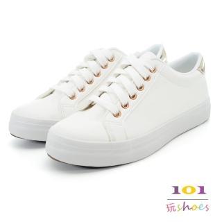 【101玩Shoes】mit.亮麗白皙綁帶運動休閒鞋(白金色.36-40號)