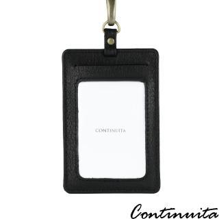 【Continuita 康緹尼】頭層牛皮超手感名片證件套夾(直式黑)