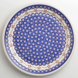 【波蘭陶】紅點藍花系列 圓形餐盤 25cm 波蘭手工製