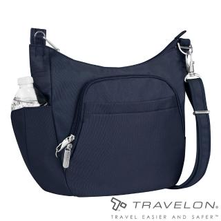 【Travelon美國防盜包】簡單經典素面風格RFID防盜防割鋼網側背包(TL-42757-14深藍/出國旅遊休閒輕便包款)
