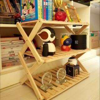 【May Shop】露營居家置物木製摺疊三層架