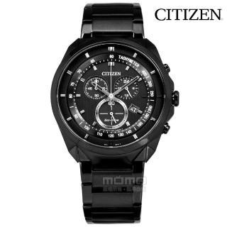 【CITIZEN】光動能 經典三眼 計時碼錶 日本機芯 不鏽鋼手錶 鍍黑 43mm(AT2155-58E)