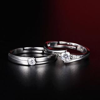 【Angel】時尚情侶浪漫約定璀璨耀眼鑲水鑽戒指可調式(男女款)