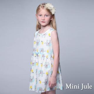 【Mini Jule】洋裝 大象小屋印花後拉鍊無袖洋裝(藍)