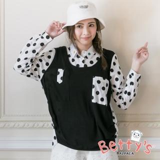 【betty's 貝蒂思】波卡圓點拼接針織長袖襯衫(黑色)